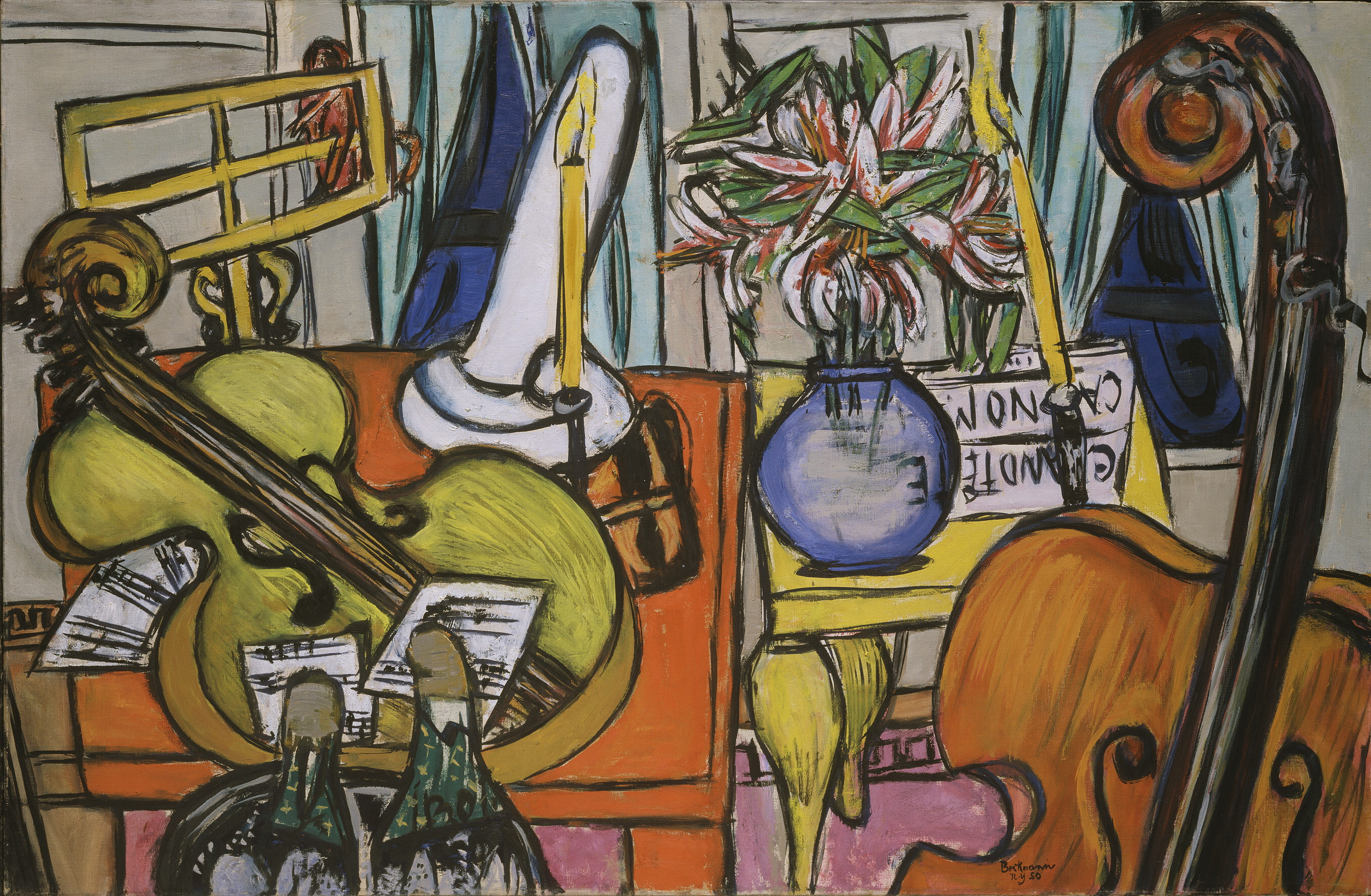 Max Beckmann,(1884-1950)  Stillleben mit Cello und Bassgeige, 1950  Öl auf Leinwand, 91,8 x 139,6 cm  Hirshhorn Museum and Sculpture Garden,  Smithsonian Institution, Washington, DC, Gift of the  Joseph H. Hirshhorn Foundation, 1966  © VG Bild-Kunst, Bonn 2014