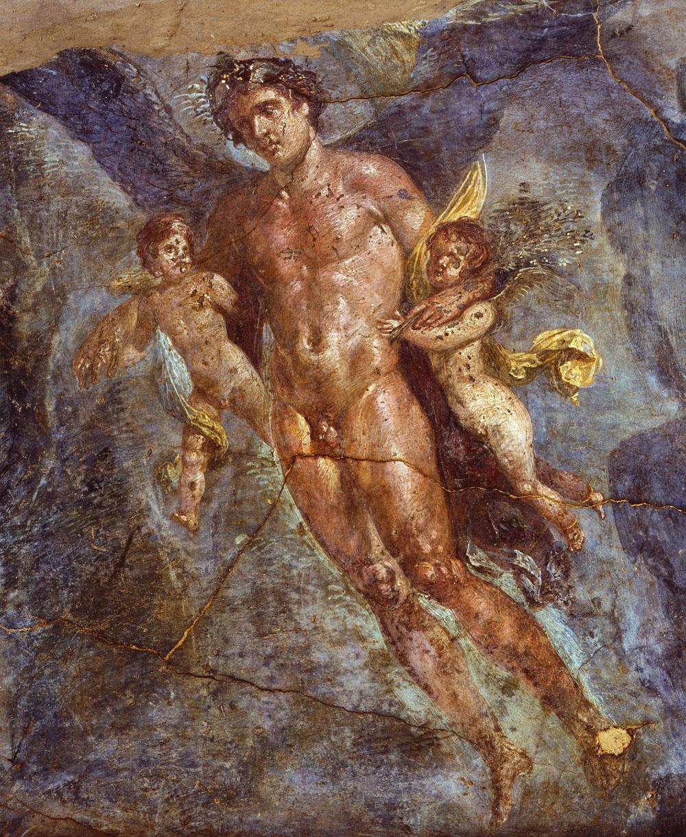 Pompeji: Hochzeit von Zephyros und Chloris, Wandfresko (Detail), Vierter Stil, um 50–79 n.Chr., Archäologisches Nationalmuseum Neapel