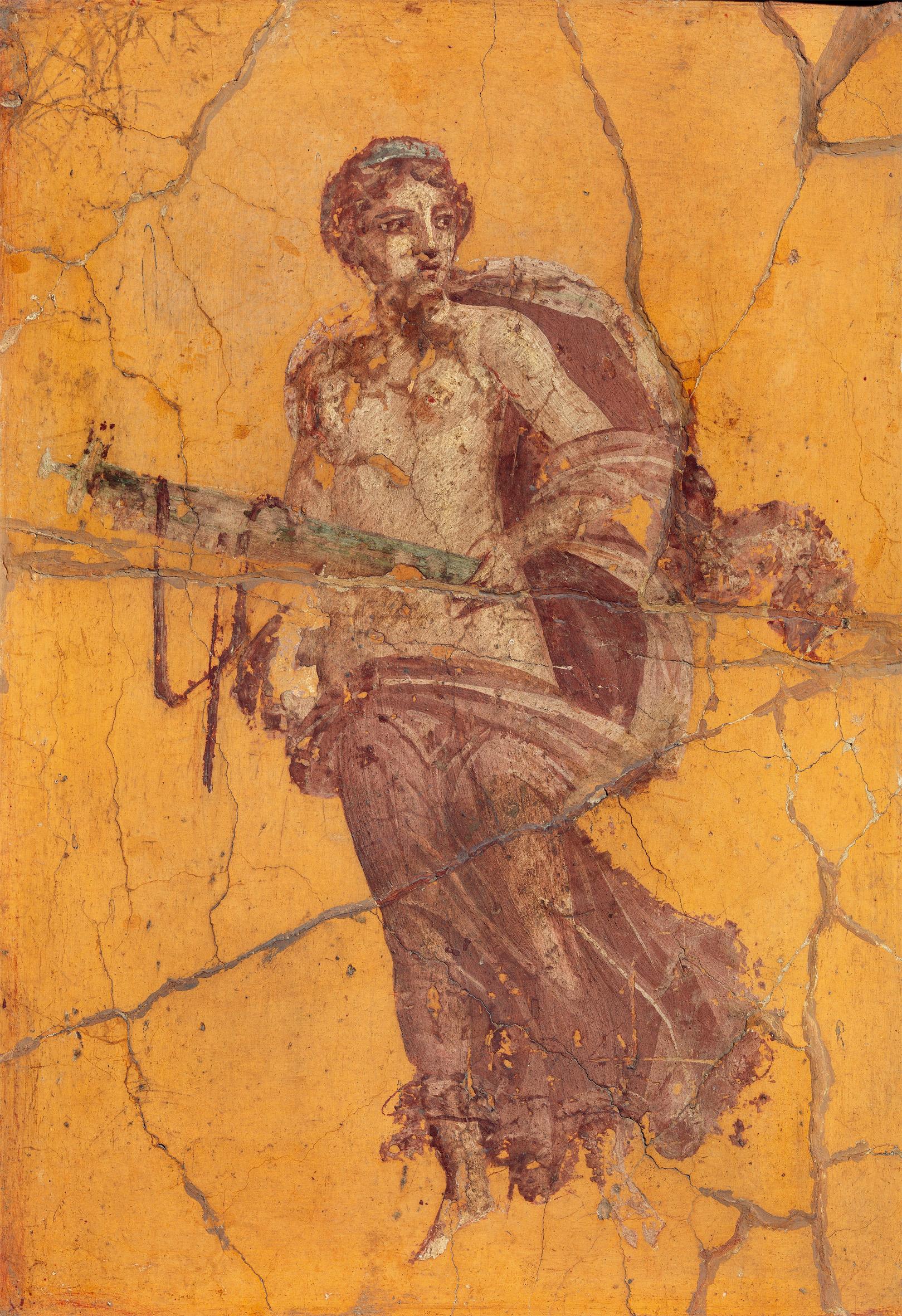 """Pompeji: Schwebende Frauenfigur (""""Venus""""), Wandfresko, Vierter Stil, um 50–79 n. Chr., Archäologisches Nationalmuseum Neapel"""