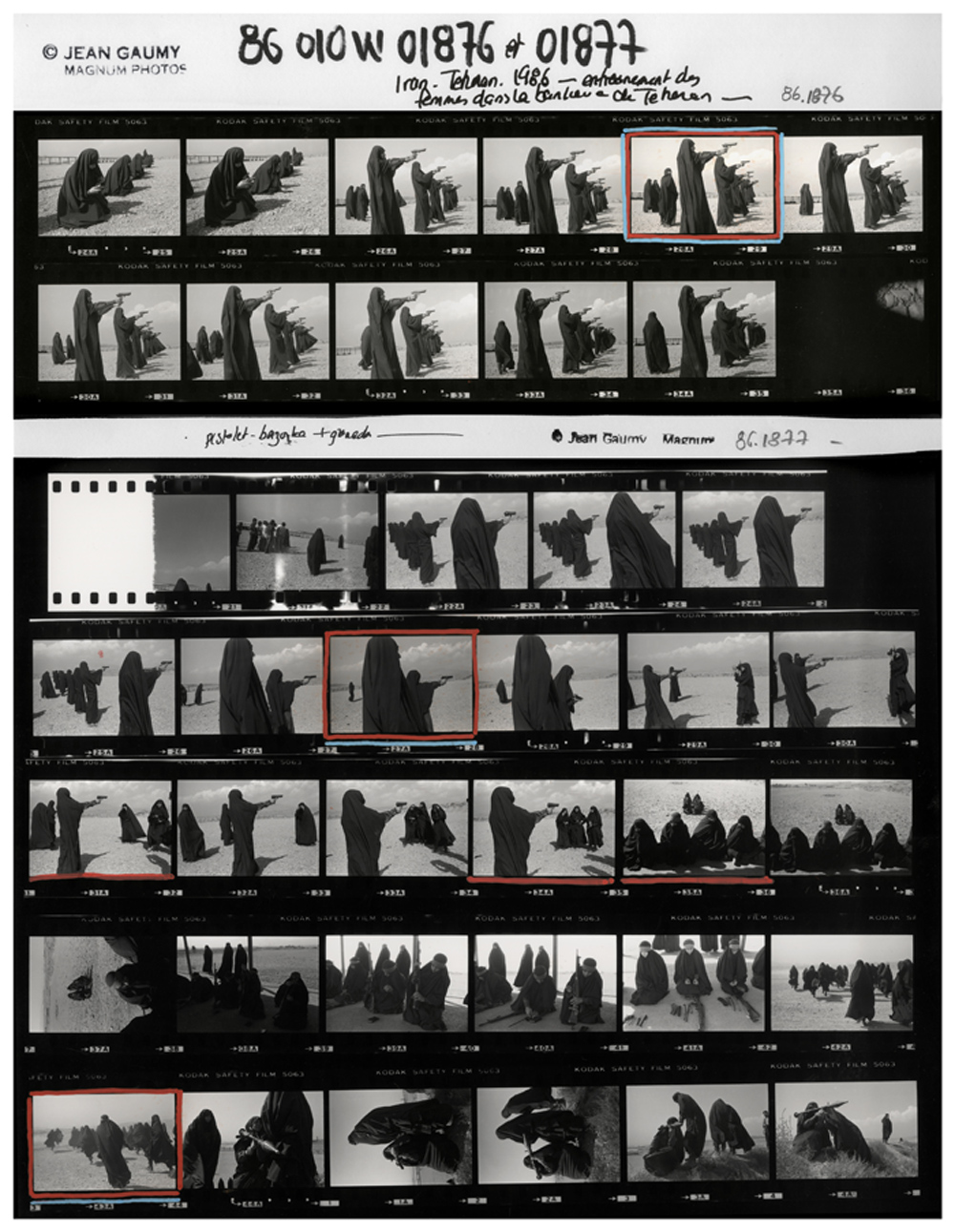 C|O Berlin: Magnum Contact Sheets: Jean Gaumy . Shooting Practice . Teheran, Iran . 1986  © Magnum Photos