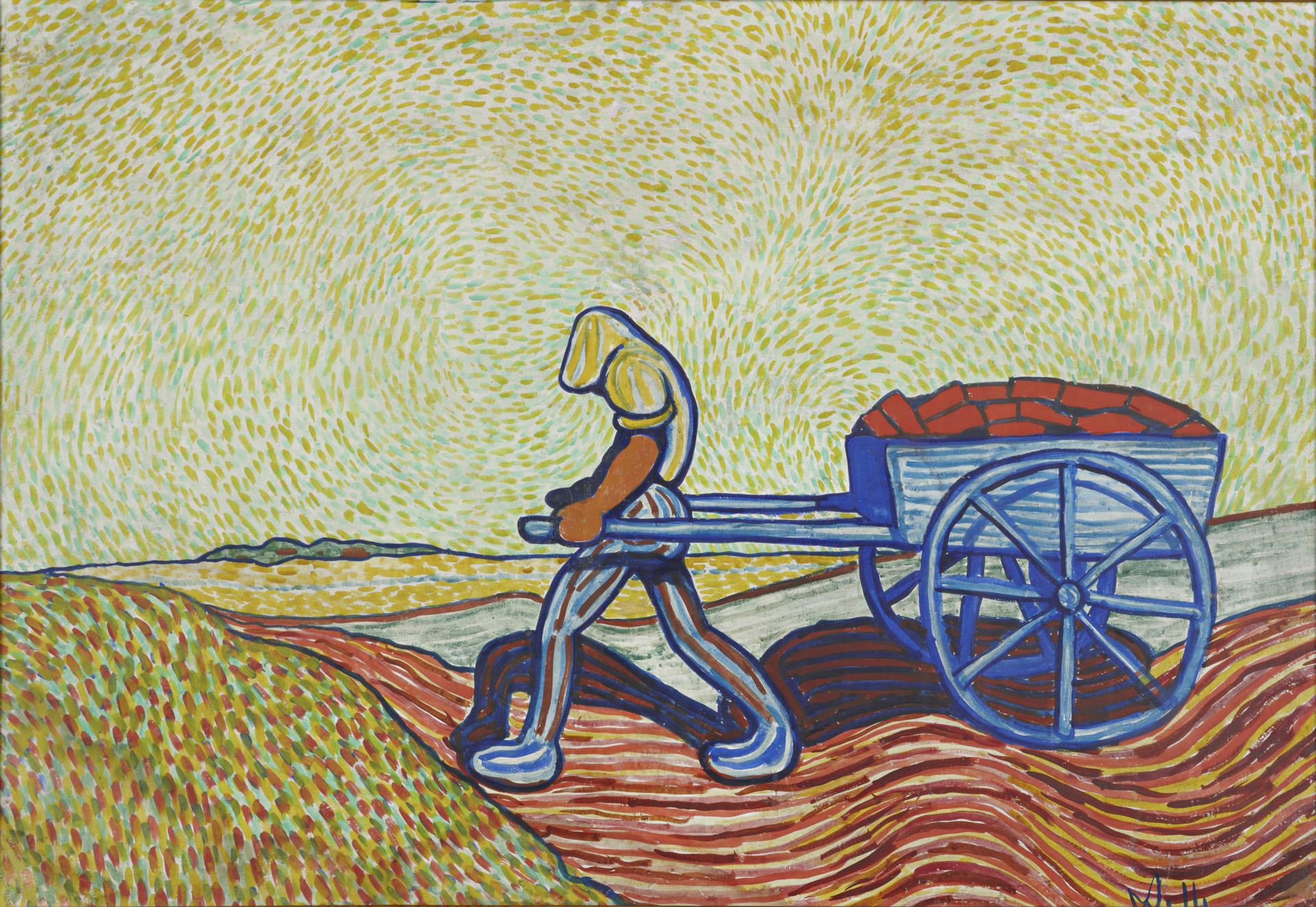 Wilhelm Morgner, Ziegelbäcker mit Karre, 1911 Leimfarben auf Pappe, 80 x 119 cm Kunstmuseum Wilhelm-Morgner-Haus, Soest Foto: Thomas Drebusch