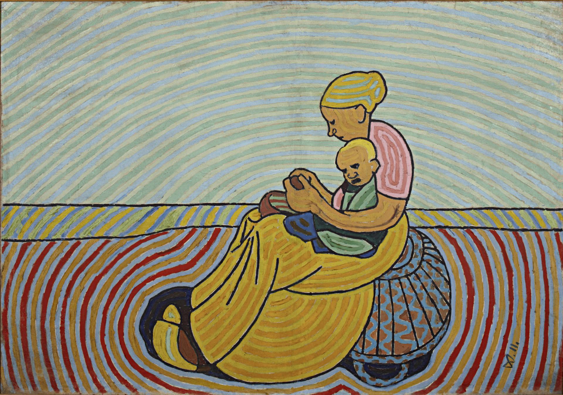 Wilhelm Morgner, Mutter mit Kind auf blauem Korb, 1911 Öl auf Leinwand, 135 x 192 cm Kunstmuseum Wilhelm-Morgner-Haus, Soest Foto: Thomas Drebusch