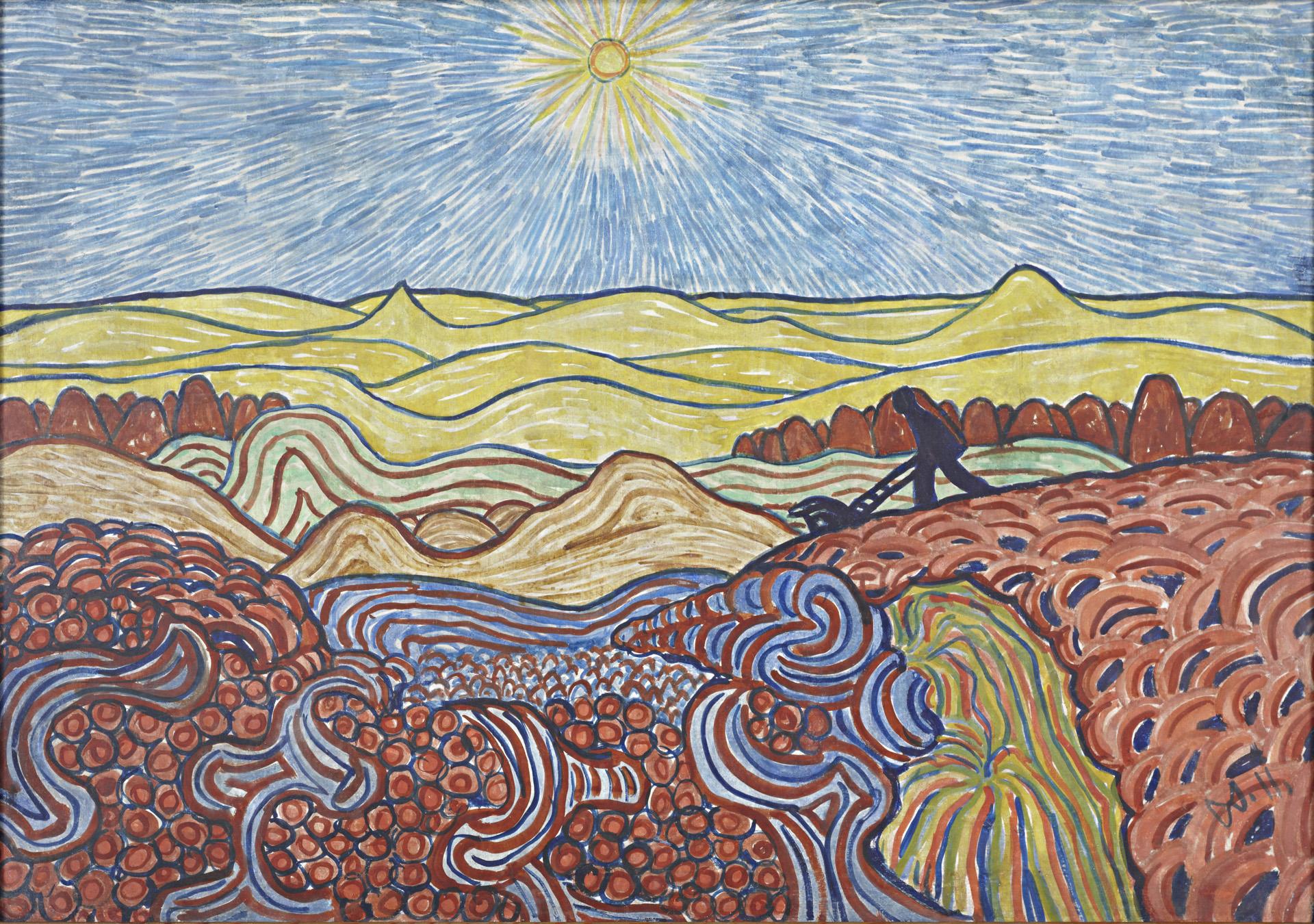 Wilhelm Morgner, Mann mit blauer Karre in Landschaft, 1911 Leimfarben auf Pappe, 82 x 120 cm Kunstmuseum Wilhelm-Morgner-Haus, Soest Foto: Thomas Drebusch
