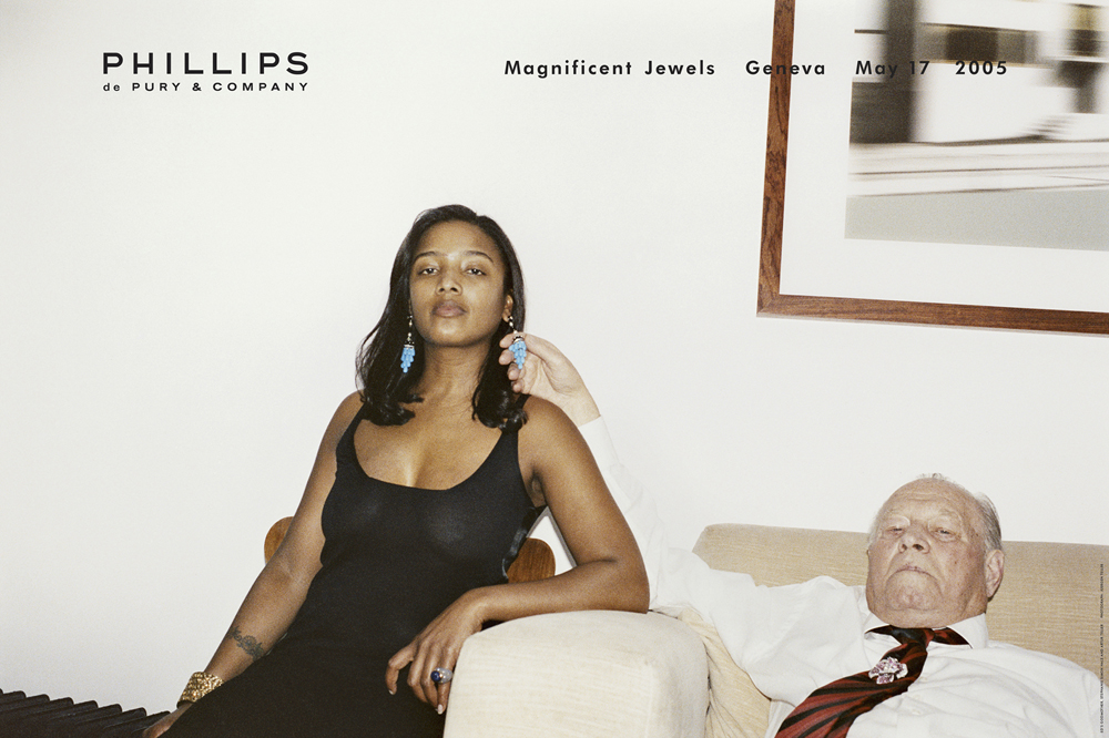 Juergen Teller Ed ́s Godmother, Stephanie Simon Hale and Artur Teller, Werbung für Phillips de Pury & Co Magnificent Jewels, London, 2005 Offsetdruck, 76 x 115 cm © Juergen Teller, Courtesy Lehmann Maupin, New York