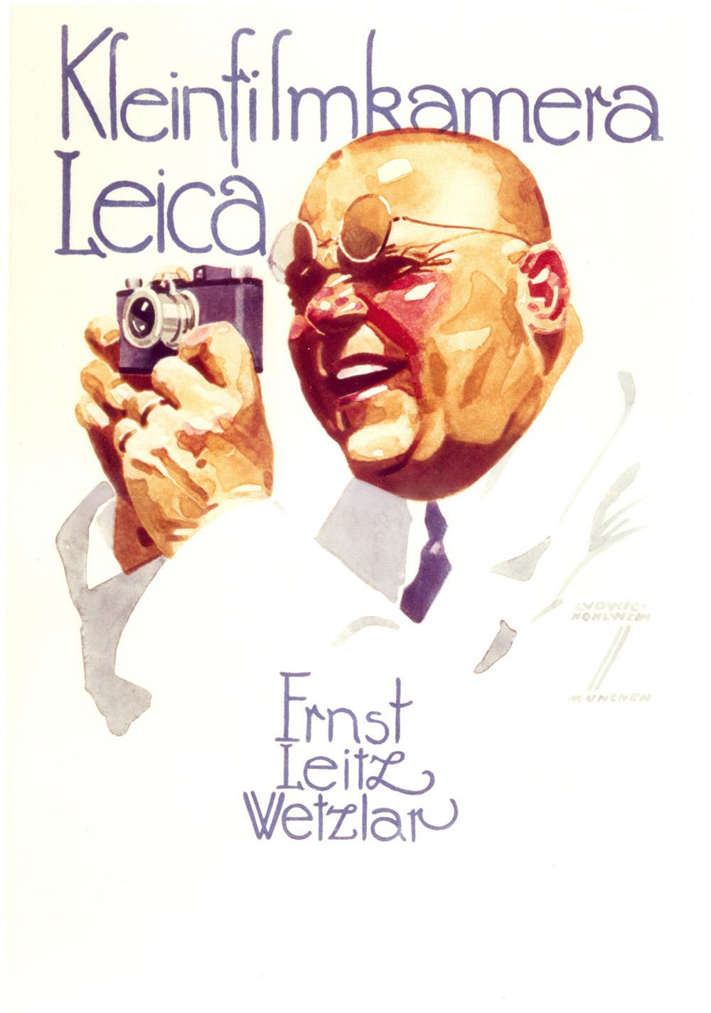 Leica Anzeigenmotiv von Ludwig Hohlwein, 1926 (erschienen in »Die Reklame«, Berlin 1926). © Leica Camera AG