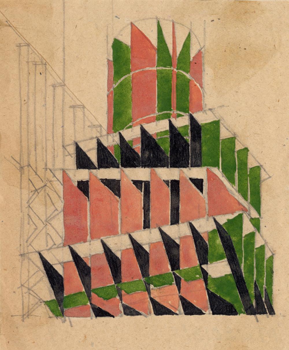 """Wchutemas: W. Krinski: Experimentell-methodische Studienarbeit zum Thema """"Farbe und räumliche Komposition""""  1921 Papier, Bleistift, Gouache  © Staatliches Schtschussew Museum für Architektur Moskau"""