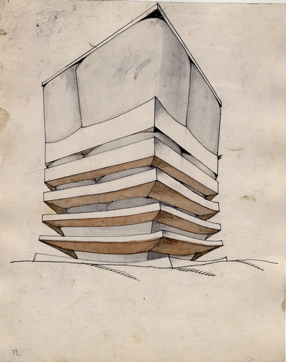 Wchutemas: M. Korshew: Abstrakte Aufgabe zur Ermittlung von Masse und Gewicht  1921 Papier, Tusche, Aquarell  © Staatliches Schtschussew Museum für Architektur Moskau