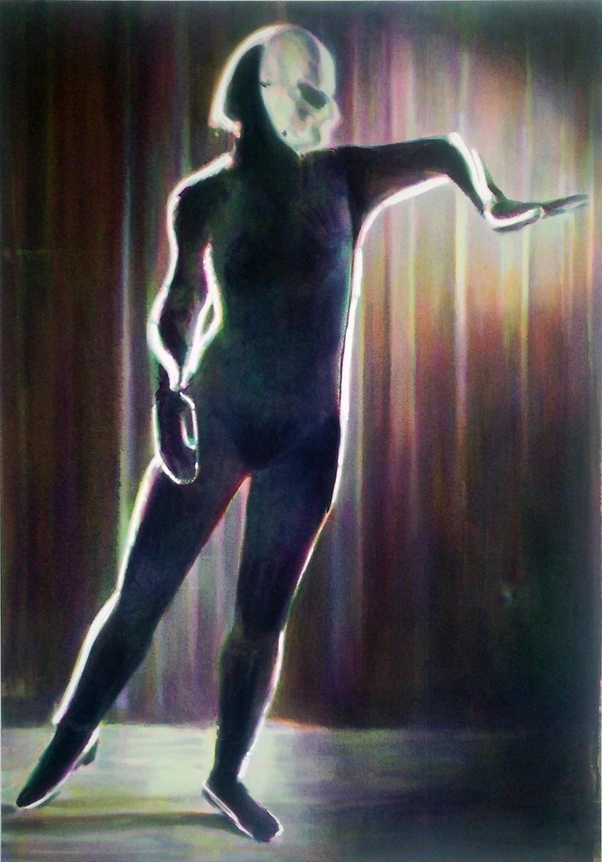 CRAC Sète: Nina Childress Exposition Magenta - Contour, 2011 - 162 x 114 cm huile et acrylique sur toile. Courtesy de l'artiste et Galerie Bernard Jordan, Paris