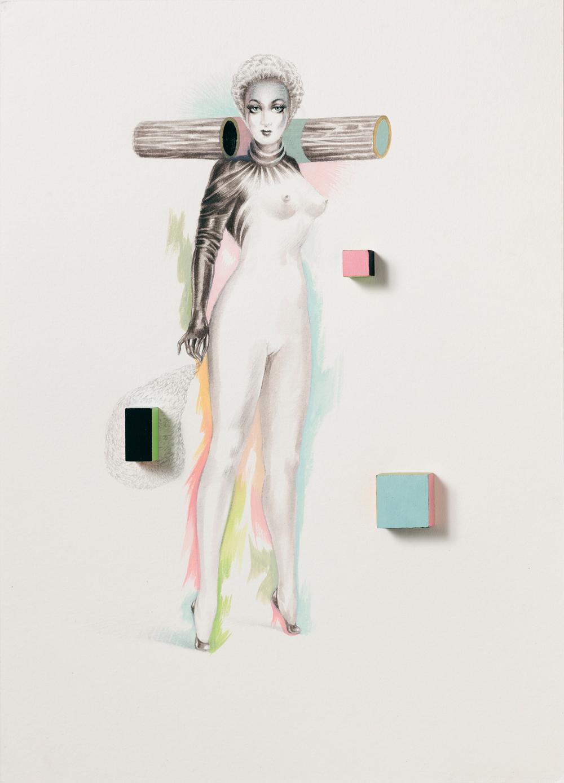 CRAC Sète: Mïrka LUGOSI - Figures - Excentrique # 29 - 2013 crayon graphite, encre, gouache et bois peint sur papier 29,5 x 21 cm.