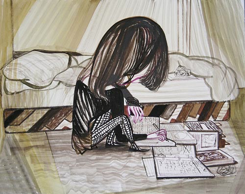Emma Talbot - Writing, 24x30 cm, Watercolour on paper, 2011