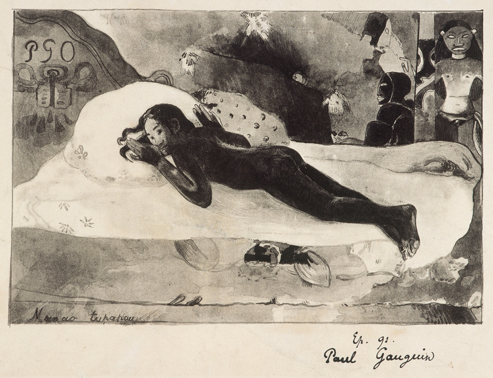 Paul Gauguin, Manao Tupapau (The Ghost of the Dead awakens), 1894, Lithography on zinc: H. 30,6 cm, B. 46 cm, Abb.: H. 18 cm, B. 27,1 cm, © Kunsthalle Bremen – Der Kunstverein in