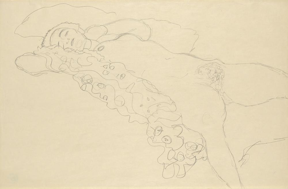 Gustav Klimt (1862-1918), Liegender weiblicher Akt, Wien, 1914/15, Bleistift, H. 37,6  cm, B. 57,1 cm, © Wien Museum