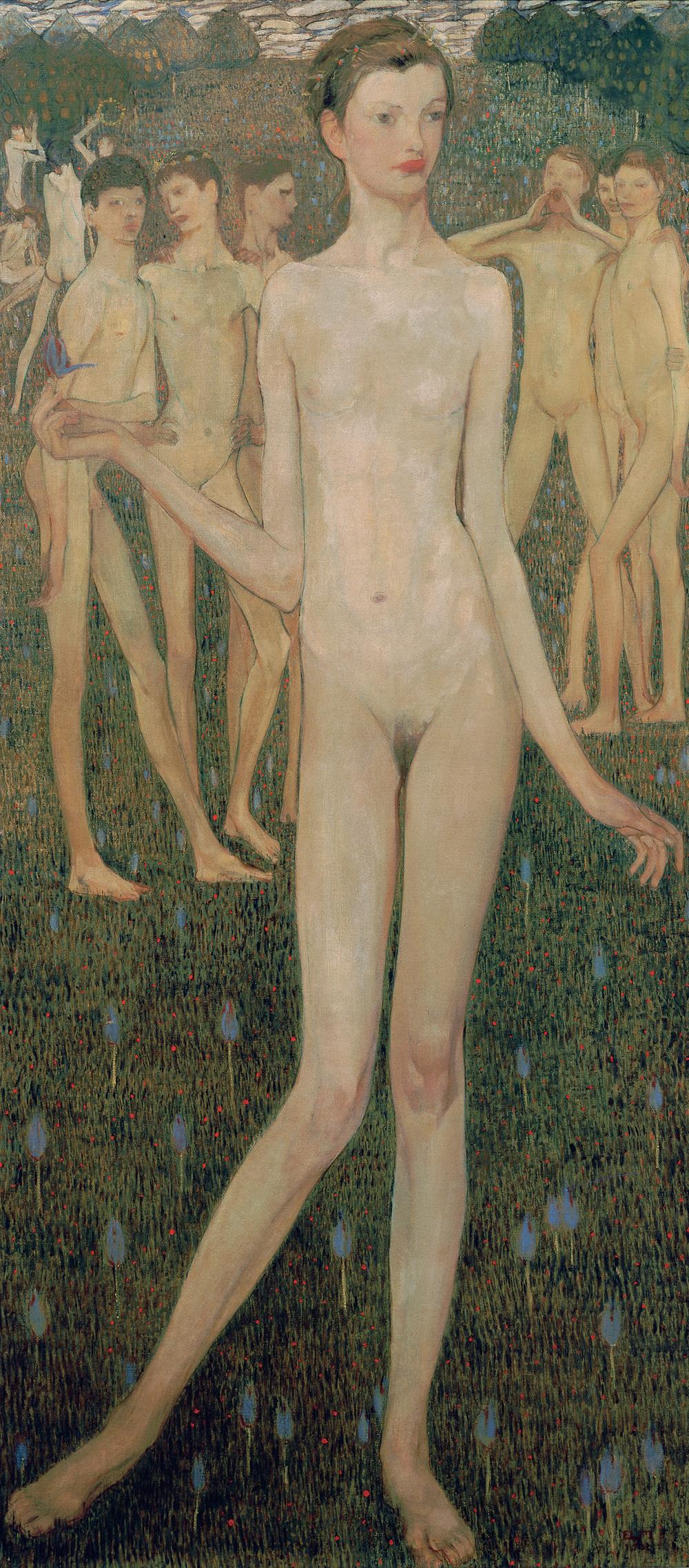 Elena Luksch-Makowsky (1878-1967), Adolescentia, 1903, Öl auf Leinwand, H. 172 cm, B. 79 cm, Österreichische Galerie Belvedere, Wien