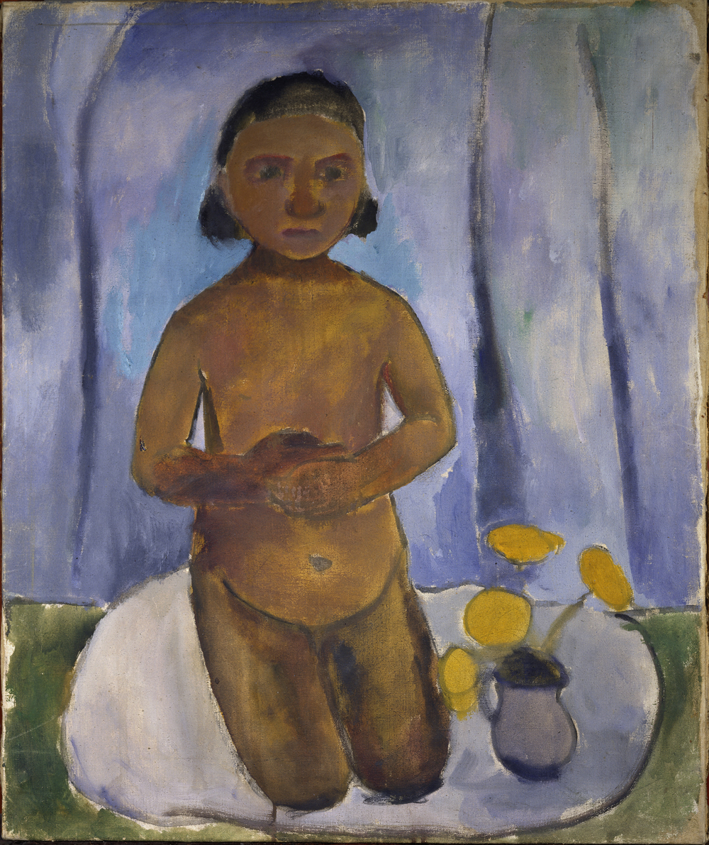 Jugendstil: Paula Modersohn-Becker (1876-1907), Kniender Mädchenakt vor blauem Vorhang, Worpswede, 1906/07, Öl auf Leinwand, H. 72 cm, B. 60 cm, © Landesmuseum Oldenburg, H. R. Wacker - ARTOTHEK