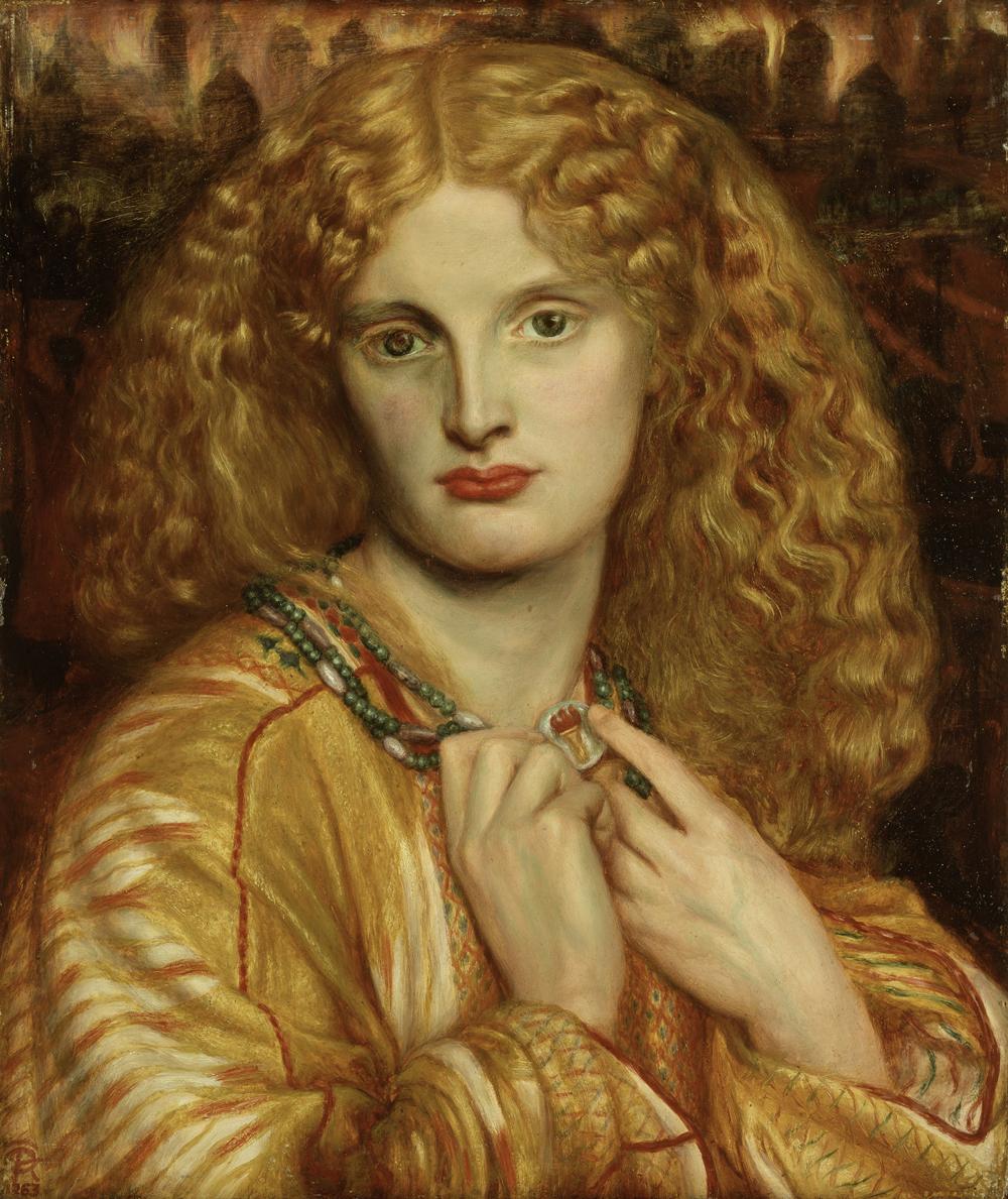Gabriel Charles Rossetti (1828-1882), Helena von Troja, 1863, Öl auf Mahagoni, H. 32,8 cm, B. 27,7 cm, Hamburger Kunsthalle, © bpk, Hamburger Kunsthalle, Foto: Elke Walford