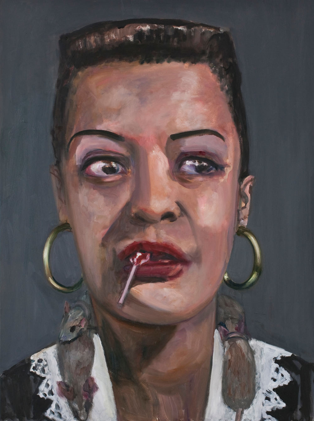 Malerei, böse: Dawn Mellor Head of National and International Strategies (Billie Holiday), 2013 Öl auf Leinwand / Oil on canvas 102 x 76 cm (c) courtesy of the artist