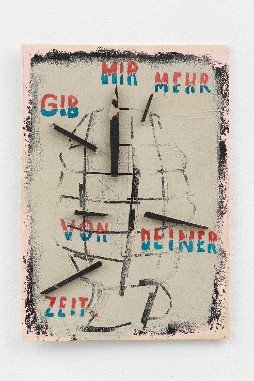 Malerei, böse: Birgit Brenner Gib mir mehr, 2015 Pappelsperrholz, Acrylfarbe, Papier / Poplar plywood, acrylic, paper 40 x 29 cm Foto / Photo: Uwe Walter, Berlin (c) courtesy Galerie EIGEN + ART Leipzig/Berlin / VG Bild-Kunst, Bonn 2015