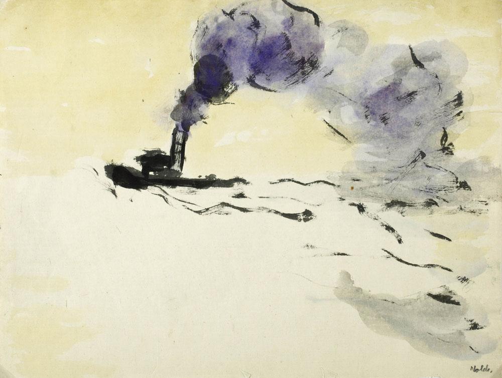 Ill.2: Emil Nolde, Kleiner Dampfer, Hamburg, 1910, encre de chine et aquarelle, 38 x 27,2 cm, Nolde Stiftung Seebüll, © Nolde Stiftung Seebüll, Photo: Dirk Dunkelberg, Berlin