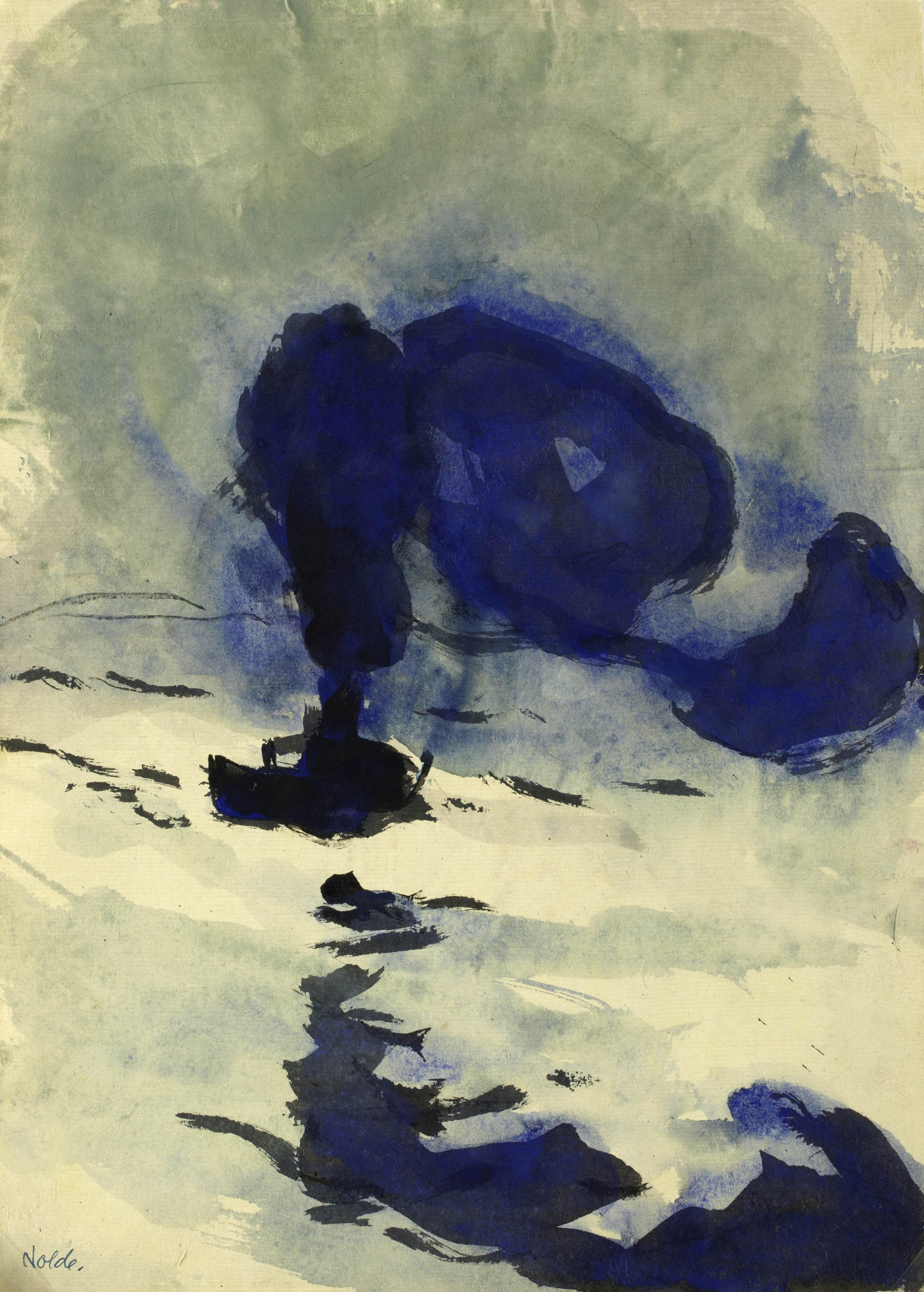 Emil Nolde (1867–1956) Kleiner Dampfer, Hamburg, 1910 Tuschpinselzeichnung, aquarelliert 38 x 27,2 cm Nolde Stiftung Seebüll © Nolde Stiftung Seebüll Photo: Dirk Dunkelberg, Berlin