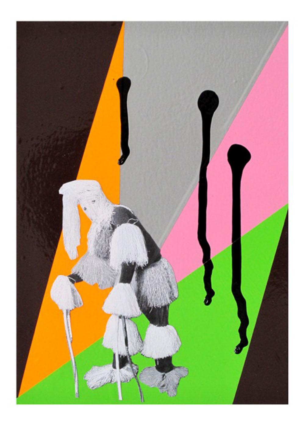 Costa Vece, Untitled, 2016 pvc foil, inkjet print, black gloss paint, cardboard, 38 cm x 31 cm