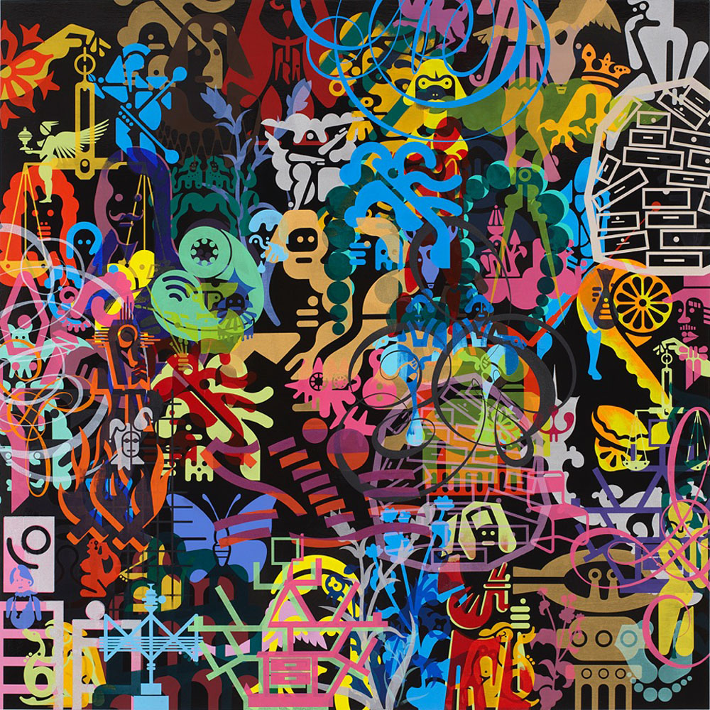 Ryan McGinness Art History Is Not Linear (Boijmans) 6, 2014 | Oil and acrylic on wood panel| 121.9 x 121.9 cm courtesy Galerie Ron Mandos Amsterdam