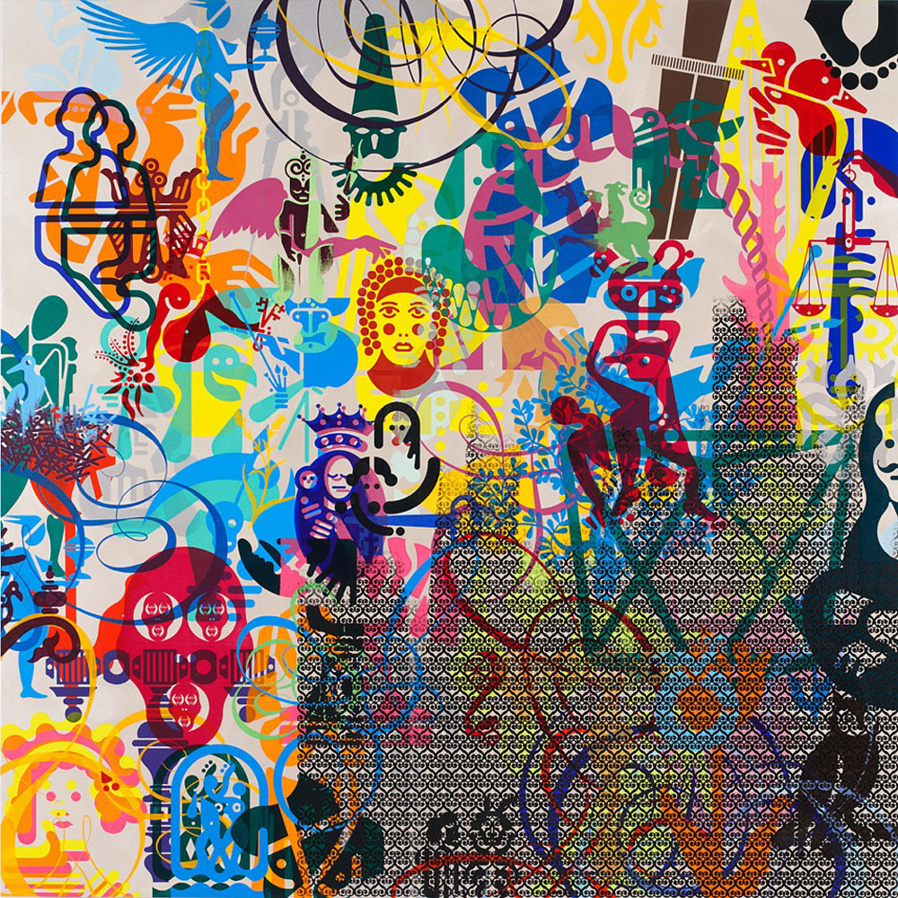 Ryan McGinness Art History Is Not Linear (Boijmans) 7, 2014 | Oil and acrylic on wood panel| 121.9 x 121.9 cm courtesy Galerie Ron Mandos Amsterdam