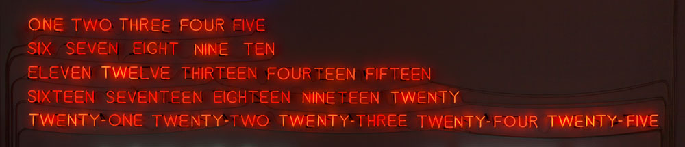 Joseph Kosuth 'Five Fives (to Donald Judd)' [orange], 1965 Orange neon 93 x 550 cm 36 5/8 x 216 1/2 inches © Joseph Kosuth / VG Bild-Kunst, Bonn, 2016 Courtesy Sprüth Magers