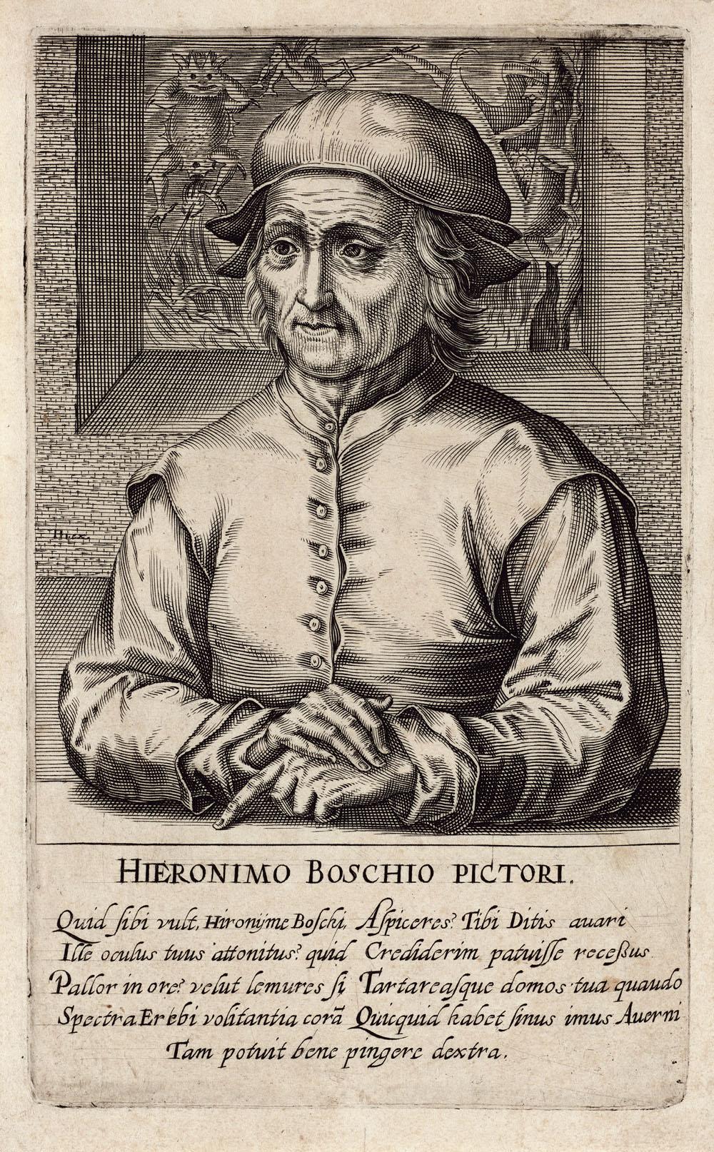 """Hieronymus Bosch: Hendrik Hondius (1573–1650): Hieronymus Bosch, aus der Serie """"Pictorum aliquot celebrium praecipué Germaniae inferioris effigies"""", 1610, Kupferstich-Kabinett, Staatliche Kunstsammlungen Dresden"""