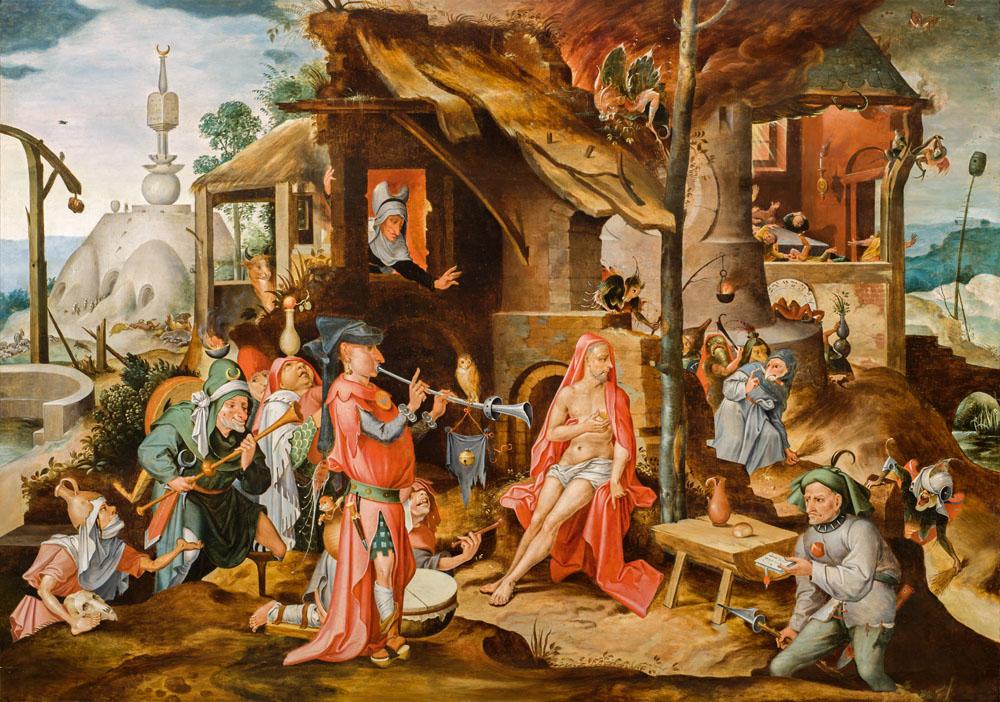 Hieronymus Bosch: Jan Mandyn (1502 – um 1560): Die Verspottung des Hiob, 16. Jahrhundert, Privatsammlung, Niederlande, by courtesy of Hoogsteder & Hoogsteder, Den Haag