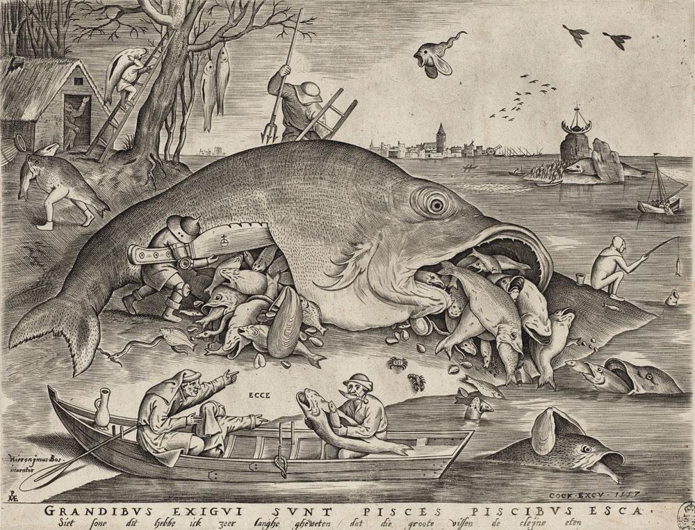Hieronymus Bosch: Pieter van der Heyden (1530–1572) nach Pieter Bruegel d. Ä. (1525–1569): Die großen Fische fressen die kleinen, 1557, Kupferstich-Kabinett, Staatliche Kunstsammlungen Dresden